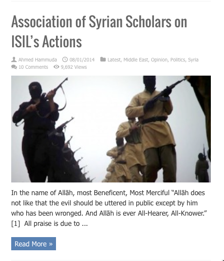 association syrian scholars on isil