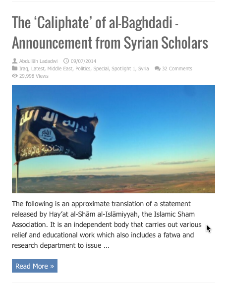 caliphate announcement syrian scholars