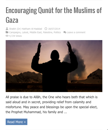 encouraging qunut for the people of gaza