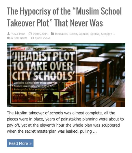 hypocrisy muslim takeover plot schools