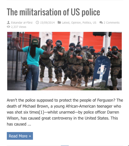 militarisation of us police
