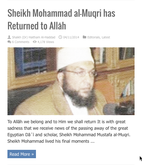 sheikh muhammad muqri has returened to allah